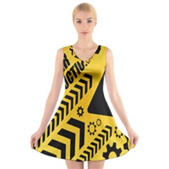 Under Construction Line Maintenen Progres Yellow Sign V Neck Sleeveless Skater Dress