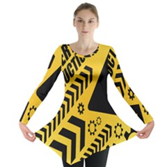 Under Construction Line Maintenen Progres Yellow Sign Long Sleeve Tunic