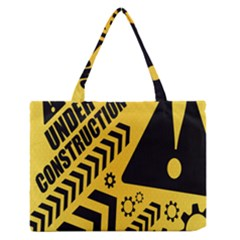 Under Construction Line Maintenen Progres Yellow Sign Medium Zipper Tote Bag by Alisyart