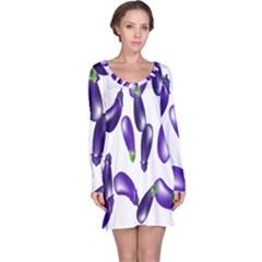 Vegetables Eggplant Purple Long Sleeve Nightdress by Alisyart