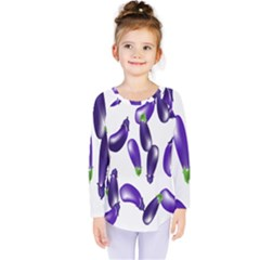 Vegetables Eggplant Purple Kids  Long Sleeve Tee