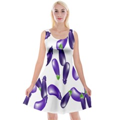 Vegetables Eggplant Purple Reversible Velvet Sleeveless Dress by Alisyart