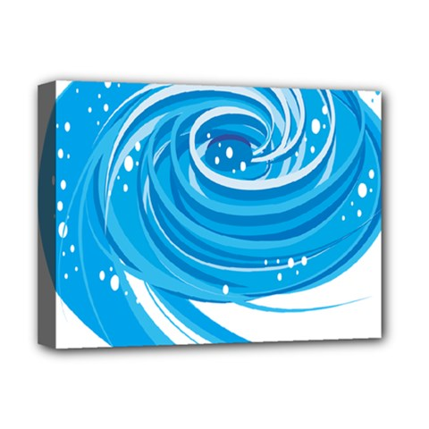 Water Round Blue Deluxe Canvas 16  X 12