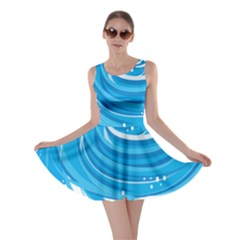 Water Round Blue Skater Dress