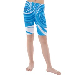Water Round Blue Kids  Mid Length Swim Shorts
