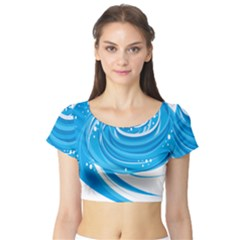Water Round Blue Short Sleeve Crop Top (tight Fit)