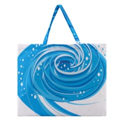 Water Round Blue Zipper Large Tote Bag