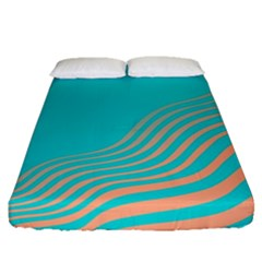 Water Waves Blue Orange Fitted Sheet (queen Size)