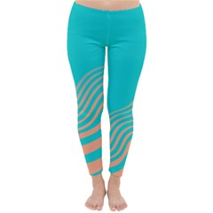 Water Waves Blue Orange Classic Winter Leggings