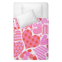 Valentines Day Pink Heart Love Duvet Cover Double Side (single Size) by Alisyart
