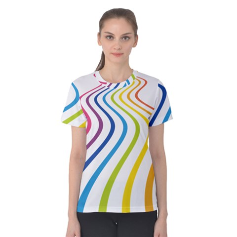 Wave Rainbow Women s Cotton Tee by Alisyart