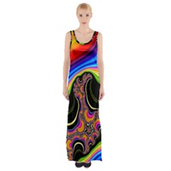 Wave Color Maxi Thigh Split Dress