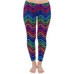 Wave Chevron Rainbow Color Classic Winter Leggings