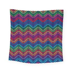 Wave Chevron Rainbow Color Square Tapestry (small) by Alisyart