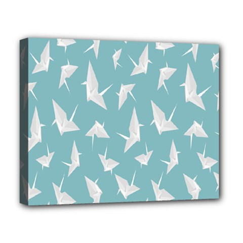 Origamim Paper Bird Blue Fly Deluxe Canvas 20  X 16