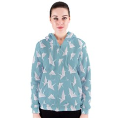 Origamim Paper Bird Blue Fly Women s Zipper Hoodie