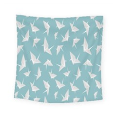Origamim Paper Bird Blue Fly Square Tapestry (small)