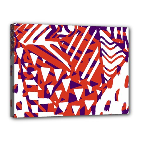 Bright  Memphis Purple Triangle Canvas 16  X 12  by Alisyart