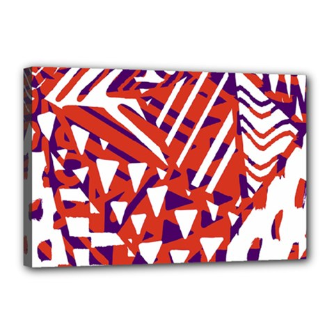 Bright  Memphis Purple Triangle Canvas 18  X 12  by Alisyart