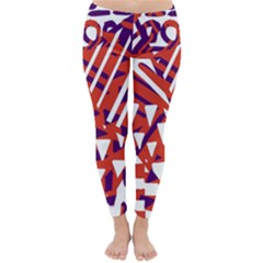 Bright  Memphis Purple Triangle Classic Winter Leggings