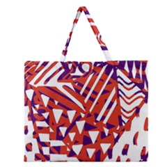 Bright  Memphis Purple Triangle Zipper Large Tote Bag