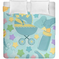 Baby Stroller Star Blue Duvet Cover Double Side (king Size)