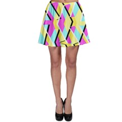 Bright Zig Zag Scribble Yellow Pink Skater Skirt