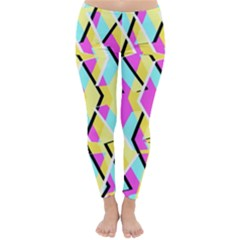 Bright Zig Zag Scribble Yellow Pink Classic Winter Leggings