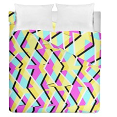 Bright Zig Zag Scribble Yellow Pink Duvet Cover Double Side (queen Size) by Alisyart