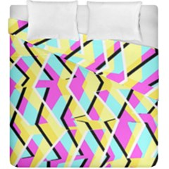 Bright Zig Zag Scribble Yellow Pink Duvet Cover Double Side (king Size)