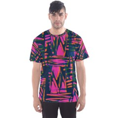 Bright Zig Zag Scribble Pink Green Men s Sport Mesh Tee