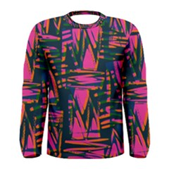Bright Zig Zag Scribble Pink Green Men s Long Sleeve Tee