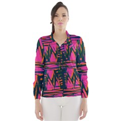 Bright Zig Zag Scribble Pink Green Wind Breaker (women) by Alisyart
