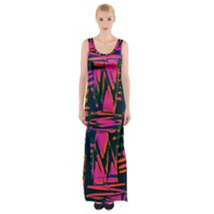 Bright Zig Zag Scribble Pink Green Maxi Thigh Split Dress