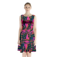 Bright Zig Zag Scribble Pink Green Sleeveless Chiffon Waist Tie Dress