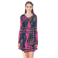 Bright Zig Zag Scribble Pink Green Flare Dress