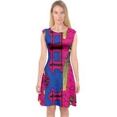 Broom Stick Gold Yellow Pink Blue Plaid Capsleeve Midi Dress