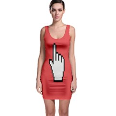 Cursor Index Finger White Red Sleeveless Bodycon Dress