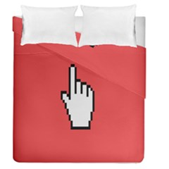 Cursor Index Finger White Red Duvet Cover Double Side (queen Size)