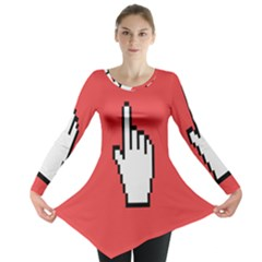 Cursor Index Finger White Red Long Sleeve Tunic  by Alisyart