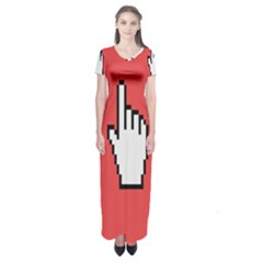 Cursor Index Finger White Red Short Sleeve Maxi Dress by Alisyart