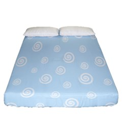 Circle Blue White Fitted Sheet (queen Size) by Alisyart