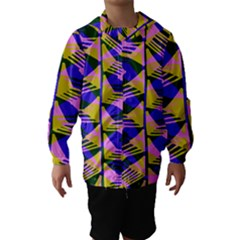 Crazy Zig Zags Blue Yellow Hooded Wind Breaker (kids)