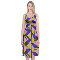 Crazy Zig Zags Blue Yellow Midi Sleeveless Dress
