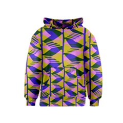 Crazy Zig Zags Blue Yellow Kids  Pullover Hoodie
