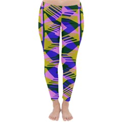 Crazy Zig Zags Blue Yellow Classic Winter Leggings