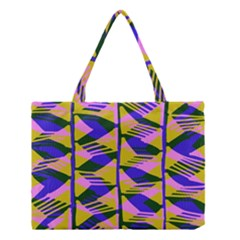 Crazy Zig Zags Blue Yellow Medium Tote Bag