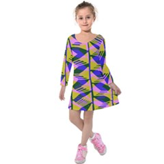 Crazy Zig Zags Blue Yellow Kids  Long Sleeve Velvet Dress
