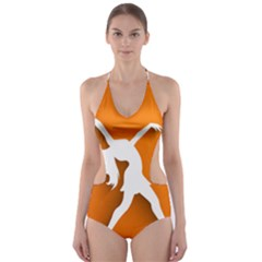 Dance Dancing Orange Girl Cut Out One Piece Swimsuit