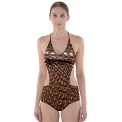Crocodile Skin Cut Out One Piece Swimsuit